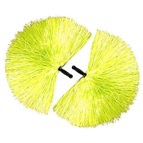 com-four® 2x Cheerleader PomPom in gelb (02 Stück - gelb/schwarzer Griff)