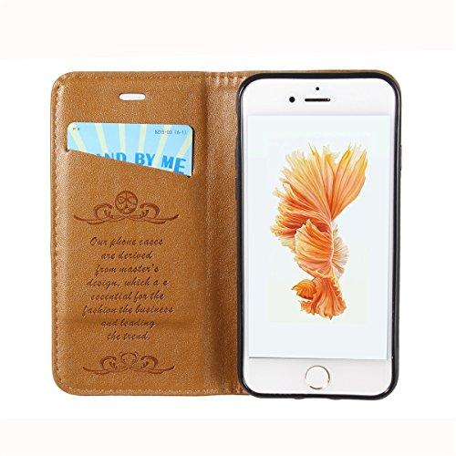 iPhone 7 Handycover, LifeePro für iPhone 7 Crazy Horse Pattern PU Leder Handycover mit Flip Stand Funktion Fotorahmen und Kartensteckplätze TPU Silikon Weiche Abdeckung Magnetverschluss Dunkelbraun Hellbraun