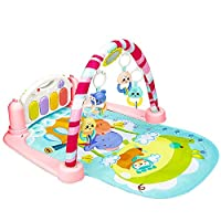 Baby Play Gym Kick and Play Mat Newborn Activity Gym Lay & Play 3 in 1 Fitness Music and Lights Fun Piano (Pink)