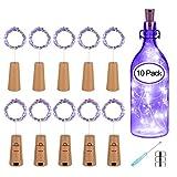 PATISZON luz de botella luz de bricolaje 10x20 LED luz ambiente, lámparas decoradas, Súper brillante y ecológico, flexible y seguro para fácil de DIY botella para entorno romántico (Morado)