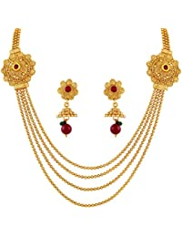 Asmitta Traditional Jalebi Design Gold Plated Matinee Style 4 String Necklace Set For Women
