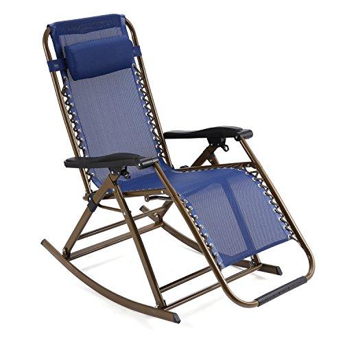 Schaukelliege Klappbar von Flabor, Schaukelstuhl Relaxliege mit abnehmbarem Kopfkissen für Garten Wohnzimmer Sonnenliege Strandliege Blau