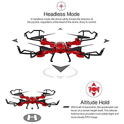 GoolRC T5W PRO 2.4G 4CH 720P HD Camera Wifi FPV Foldable RC Quadcopter Selfie Drone One-key Return Altitude Hold from GoolRC