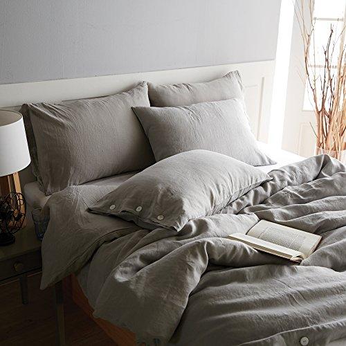 Vintage-Bettbezug-Set aus 100 % Leinen von Merryfeel, ausgewaschene Optik, grau, (Double Set)200x200+2x50x75cm