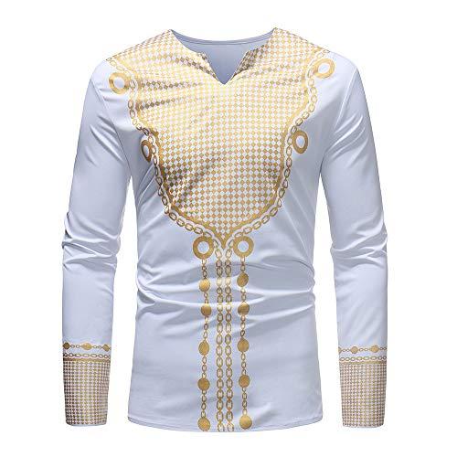 Sweatshirt Herren,SANFASHION Männer Herbst Winter Luxus Afrikanischen Print Langarm Dashiki Shirt Top Bluse