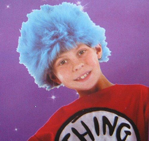 Dr Thing Seuss Kostüm 1 - Kids Blue Spiky Wig Fancy Dress Accessory
