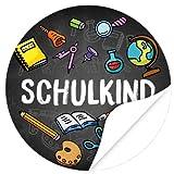 24 x Aufkleber zur Einschulung, rund 4cm - Motiv Bunte Symbole Tafel SCHULKIND - Schule/Schulkind/Eingeschult/Junge/Mädchen