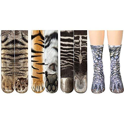 Unisex Adult Cute Cat Kitty Paw Socks, Animal Paw 3D Simulation Print Crew Socks, 4 Pairs,B