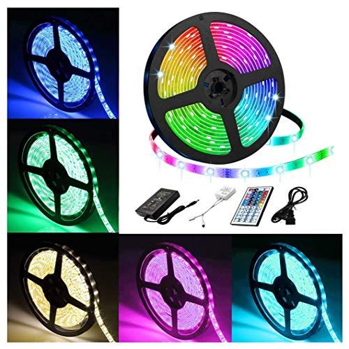 AJIC Geführte Streifen-Lichter 16.4ft SMD 5050 150 LEDs mit hohen Helligkeit Wasserdichten LED Lichtschlauch mit 44-Key IR-Fernbedienung 12V 5A Netz Suply for Garten-Party-Bar -
