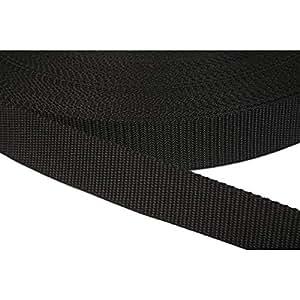 PP Gurtband 25mm aus Polypropylen, 6 Meter lang, 1,2mm Stark/Farbe: 41 - schwarz