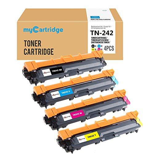 Mycartridge 4 Pack Kompatibel Brother TN-242 Tonerpatronen für Brother HL-3142CW HL-3152CDW HL-3172CDW DCP-9017CDW DCP-9022CDW MFC-9142CDN MFC-9332CDW MFC-9342CDW (Schwarz/Cyan/Magenta/Gelb)