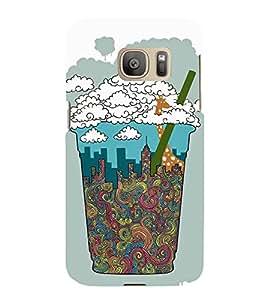 Fuson Designer Back Case Cover for Samsung Galaxy S7 :: Samsung Galaxy S7 Duos :: Samsung Galaxy S7 G930F G930 G930Fd (Buildings Waves Giraffe straw Bubbles)