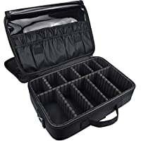 DCCN Beauty Cosmetic Medium Size Multifunctional Professional Makeup Case with Adjustable Compartments, Shoulder Strap - Black