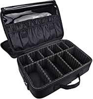 DCCN Beauty Cosmetic Multifunctional Makeup Case With Adjsutable Space Shoulder Strap Black 13.6