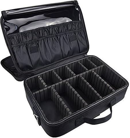 DCCN Train Malette de Maquillage Professionnel Beauty Case 3 couche, Coffret Sac Trousse Cosmétique Organiseur pour Pinceaux de Maquillage Vernis à Ongles 34.5cmX24cmX11cm