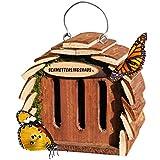 Gardigo maison des papillons pour l'élevage de papillons et le jardin boîte de décoration papillon pour attirer les papillons pour l'hivernage, la couleur bois naturel