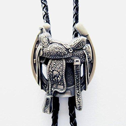 Bolo Tie sella e ferri di cavallo , stivali da cowboy occidentali , argentato !