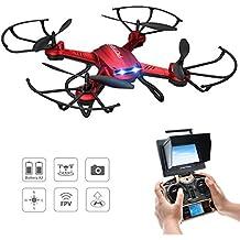 Drone Quadcopter, Potensic Hover Drone ESTABILIZACIÓN F181DH AMPLIADO Drone con Telecámara FPV 5.8GHz 4CH 6-Axis Gyro RC Quadcopter Drone con 2.0M HD Cámara Explorers Helicóptero Nano Drone con Modo Headless, Función 3D Flips - Rojo