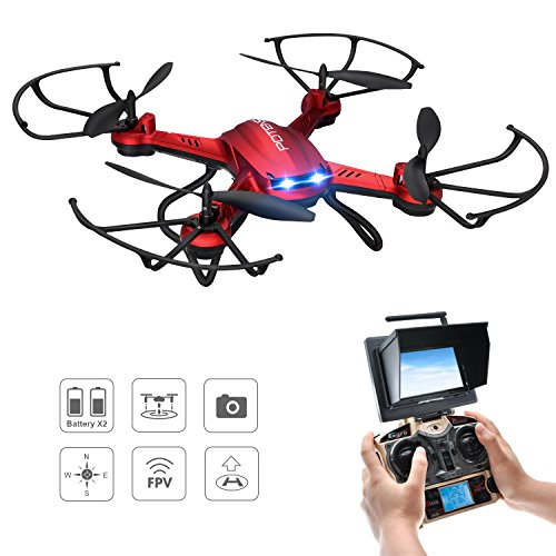 Drone Quadcopter, Potensic Hover Drone ESTABILIZACIÓN F181DH AMPLIADO Drone con Telecámara FPV...