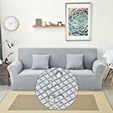 HM&DX Color Sólido Revestimientos De Sofá Impermeable, Punto Ante Elástica Funda De Sofá 1 Pieza Antideslizante Lavable Cubierta del Sofá Cubierta-Gris Claro 3 Plazas