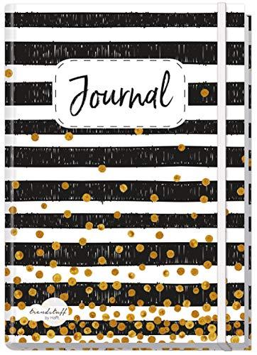 Bullet Journal dotted A5 mit Gummiband [Black & White] von Trendstuff by Häfft | Notizbuch, Tagebuch - stilvoll, robust, biegsam, abwischbares Cover