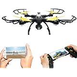 Drone con Telecámara, Kingtoys Wifi FPV 2.4GHz 4CH 6-Axis Gyro RC Quadcopter Drone con Cámara HD 720p Megapíxeles, Función 3D Flips Modo , 360° de Eversión, sensor de gravedad y la función de modo sin cabeza,negro