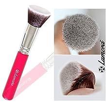 Brochas De Maquillaje Kabuki Profesional - Pincel Facial Ideal Para La Aplicación De Bases De Maquillaje Liquido Tradicionales y Fluidas - Perfecto También Para Aplicar y Difuminar Bases de Maquillaje en Polvos Suelto y Compacto - Calidad Premium - Fibras Sintéticas Gruesas - Color Rosa