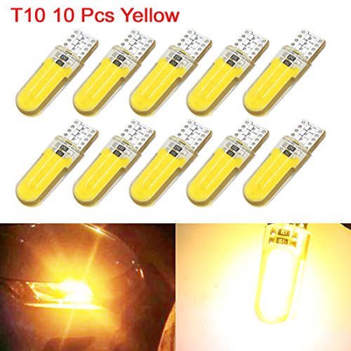sourcing map 10Pcs T10 Wedge 12 LED Jaune Lampe Voiture W5W 192 168 DC 12V Int