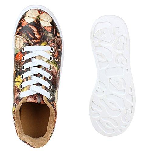 Damen Sneakers Low Bunte Prints Plateau Turnschuhe Freizeit Hellbraun