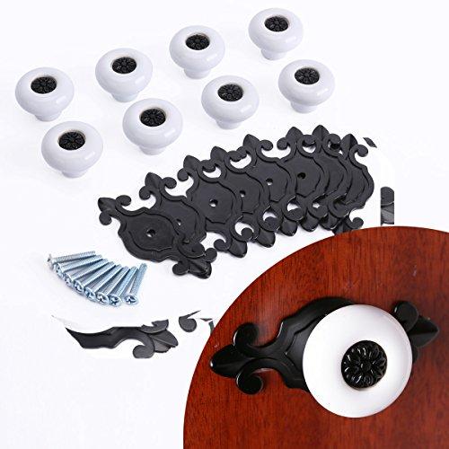 CLE DE TOUS - 8pcs Pomo de Cerámica Bola Blanco con base encaje Negro para Muebles Cajones Armarios Manilla 4mm