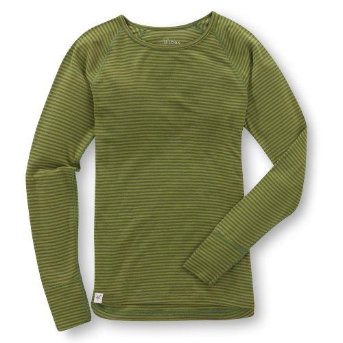Ibex Outdoor Bekleidung Damen Woolies 150Crew Stripe Base Layer Top, damen, Sap/Alligator (Ärmel Alligator Lange)