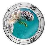 Glasbild rund 3D-Optik Bullauge - Unterwasserfreunde Unterwasser Schildkröte Fische Meer Tiere Wall-Art Ø30 cm