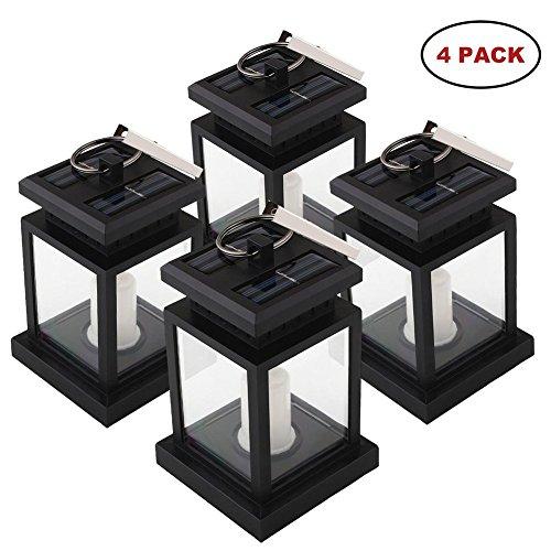 Mabor Lampe Solaire Eclairage LED de Jardin, Chandelle Lanterne bougie, Eclairage de Jardin Solaire parfaite à poser ou à suspendre pour la Tente, Parapluie - 4 pcs 9.50*9.50*14.00 CM