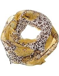 Chiffon Fashion Scarf / Animal Flower Printed Classy Scarves (Flower & Leopard - Brown)