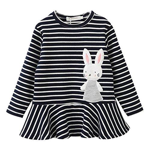 Kaninchen Kostüme Kleinkind Für (Longra Kleinkind Baby Kinder Mädchen Stickerei Kaninchen Gestreifte Prinzessin Kleid Mädchen Herbst Kleidung Langarm T-Shirt-Kleid (2-6 Jahre) (100CM 2Jahre,)