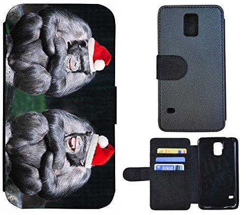 Schutz Hülle Flip Cover Handy Tasche Etui Case für (Apple iPhone 6 / 6s, 1167 Nofretete Frau Ägypten Schwarz Rot) 1161 Affen Grau Schwarz Rot