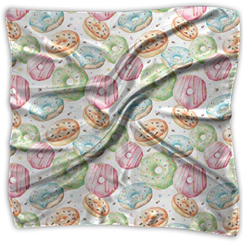 Silk Square Scarves Bandana Scarf, Sweet Delicious Donuts Pattern With Various Flavors Sprinkles Stars Background,Womens Neck Head Set ()