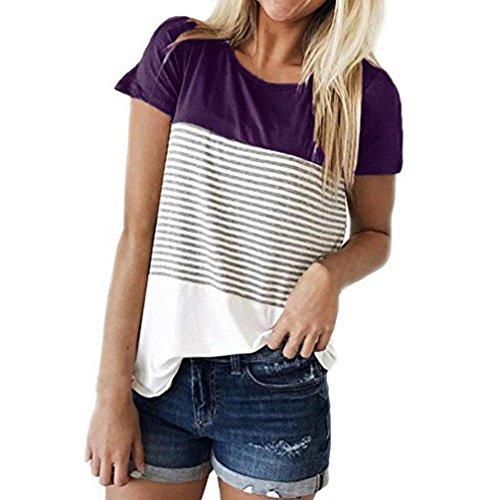 IMJONO Frauen Kurzarm Dreifach Farbe Block Streifen T-Shirt Casual Bluse(Lila,EU-38/CN-M) (Der Mutter Bräutigam-outfit)