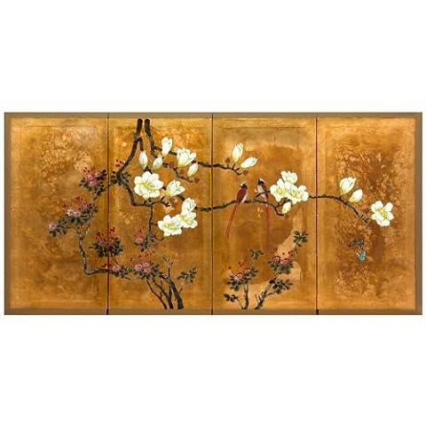 Oriental Furniture SILK-LOVEBG Love Birds on Traditional Gold Leaf by ORIENTAL FURNITURE
