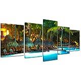 Kunstdruck - Swimming Pool - Bild auf Leinwand - 200x80 cm 5 teilig - Leinwandbilder - Urlaub, Sonne & Meer - beleuchtete Poollandschaft - Palmen - tropisch