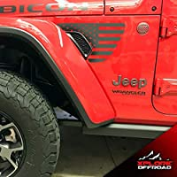 XPLORE OFFROAD - Wrangler JL 2018+ Rubicon Fender Vent Decals | Matte Black & Precut | Both Sides (American Flag)