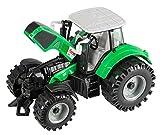 Idena 40289–Tractor con Movible Eje Delantero y Remolque, accionamiento Volante de inercia, aufklappbare capó, Aprox. 20cm