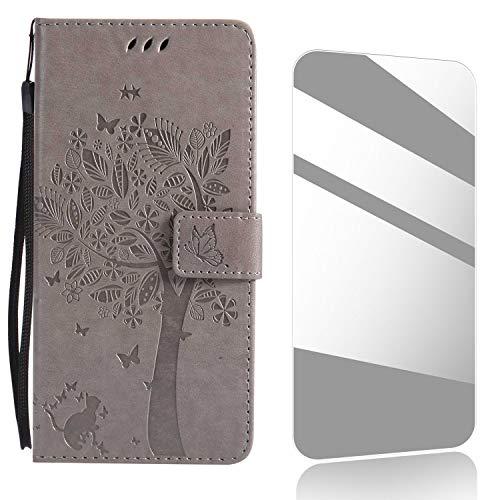 Huawei Mate 10 Hülle, Thrion Lederhülle Handyhülle mit [Frei Schutzfolie], Premium PU Tasche Leder Flip Case Cover Schutzhülle für Huawei Mate 10 - Grau