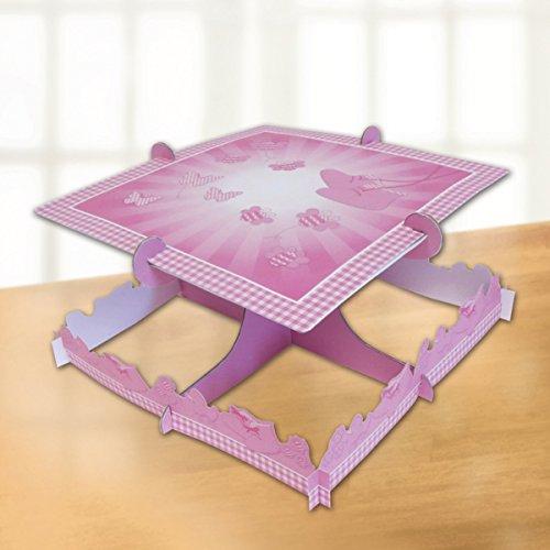 Soporte para tartas de bautizo niña: bautizo rosa Botines Square Cake destaca una estantería.