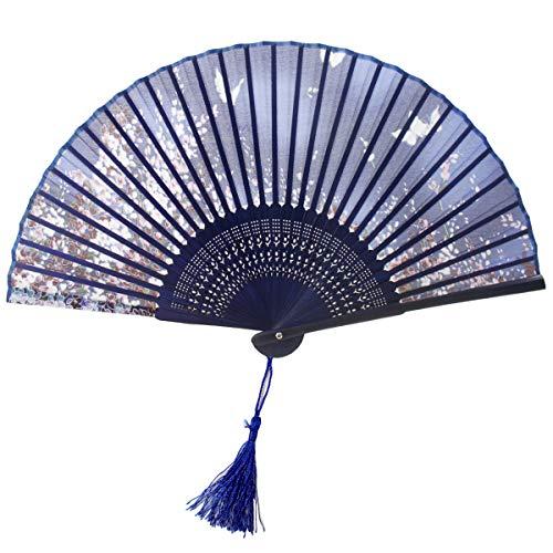 Japanischer Handfächer Bambus Fans mit Quaste Frauen Ausgehöhlten Bambus Hand Halten Fans für Wanddekoration, Geschenke (Blau Schmetterling und Kirschmuster) ()