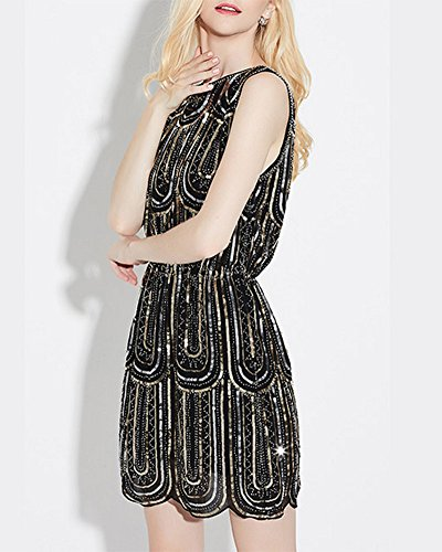 Femmes Robe Vintage Luxe Sparkly Paillette Robe de Cocktail Noir