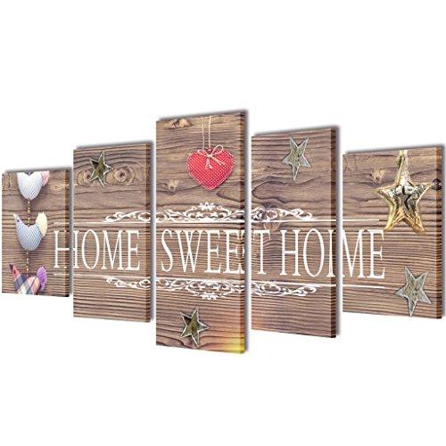 "vidaXL Set de toiles murales imprimées ""Home Sweet Home"" 100 x 50 cm"