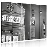 Feeby Frames Leinwandbild, Bilder, Wand Bild - 5 Teile - Wandbilder, Kunstdruck Typ C, 120x250 cm, Stadt, London, TELEFONZELLE, Big Ben, Schwarz-Weiß
