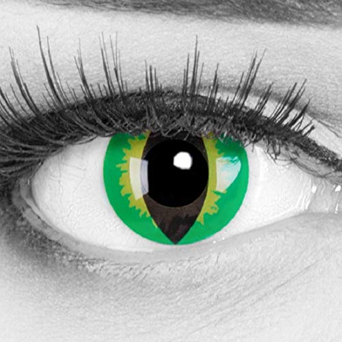 Farbige gelbe grüne Crazy Fun Kontaktlinsen crazy contact lenses 'Green Dragon' 1 Paar. Mit gratis Linsenbehälter + 60ml Pflegemittel