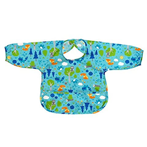 green sprouts Easy-Wear Long Sleeve Bib (12 to 24 Months, Aqua Forest, single)